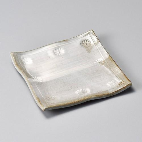 34010-410 粉引印花紋正角銘々皿|業務用食器カタログ陶里30号