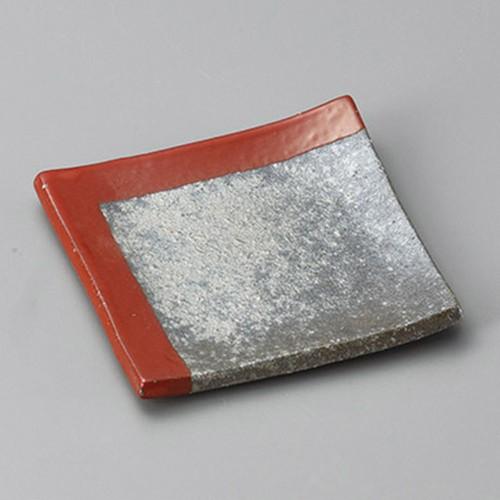 34017-430 黒窯変角赤掛け分け4.3角皿|業務用食器カタログ陶里30号