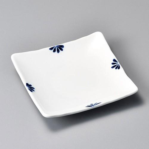 34102-450 小花(青)正角銘々皿|業務用食器カタログ陶里30号