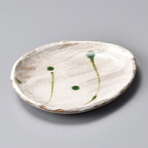 34408-120 粉引織部散し卵型小皿|業務用食器カタログ陶里30号