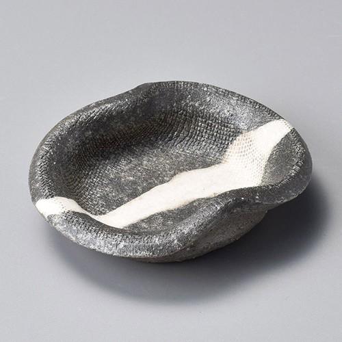 34412-430 黒窯変掛け分け変型小皿|業務用食器カタログ陶里30号