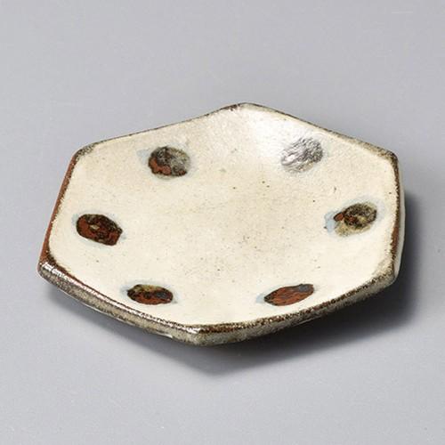 34415-450 焼しめ六角小皿水玉(手造り)|業務用食器カタログ陶里30号