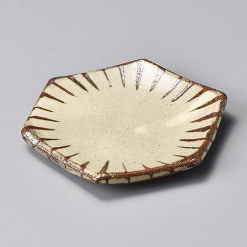 34416-450 焼しめ六角小皿十草(手造り)|業務用食器カタログ陶里30号