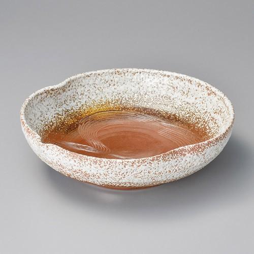 37907-460 手造赤土白吹8.0瓢形丼|業務用食器カタログ陶里30号
