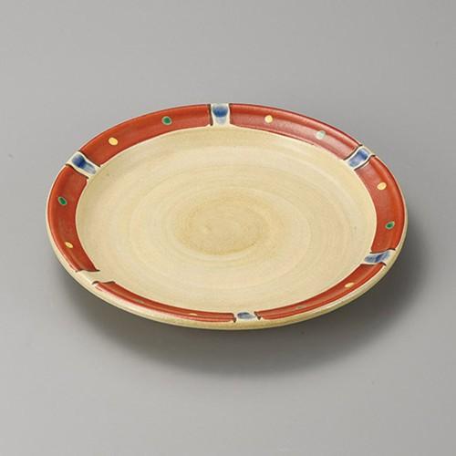 38402-410 赤絵点十草リム付丸8.0皿|業務用食器カタログ陶里30号