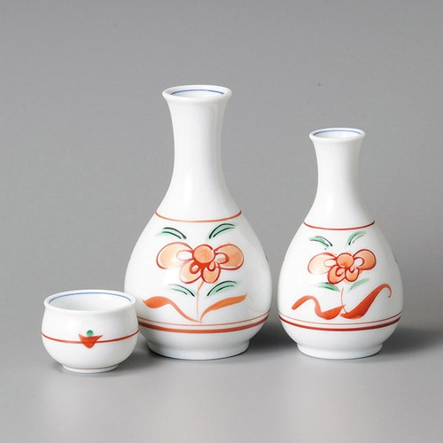 39214-330 赤絵草花紋小徳利|業務用食器カタログ陶里30号
