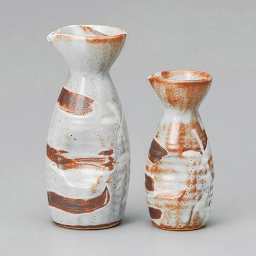 39535-180 銀志野芦(土物)2合徳利|業務用食器カタログ陶里30号
