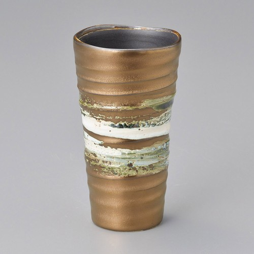 40515-050 ゴールド織部流しフリーカップ 業務用食器カタログ陶里30号