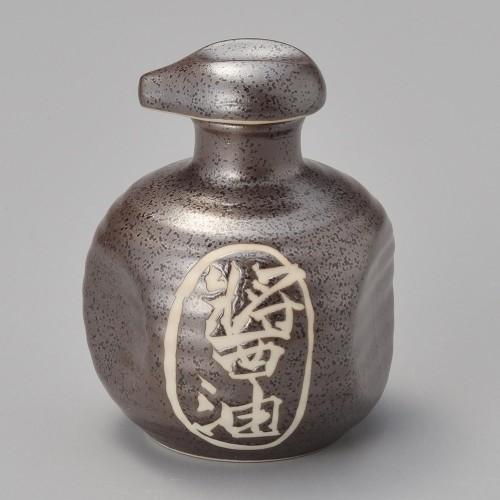 42002-250 黒水晶ペコ型醤油入|業務用食器カタログ陶里30号