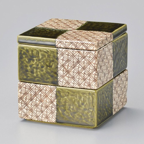42901-460 格子織部二段重|業務用食器カタログ陶里30号