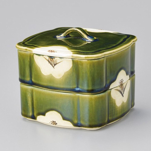 42905-460 織部椿蓋物(大) 一段|業務用食器カタログ陶里30号