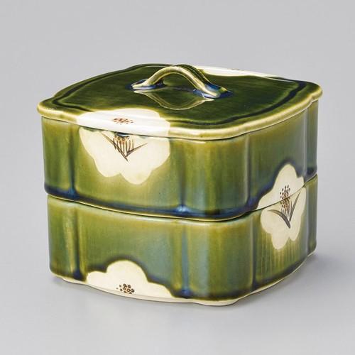 42906-460 織部椿蓋物(大) 二段|業務用食器カタログ陶里30号