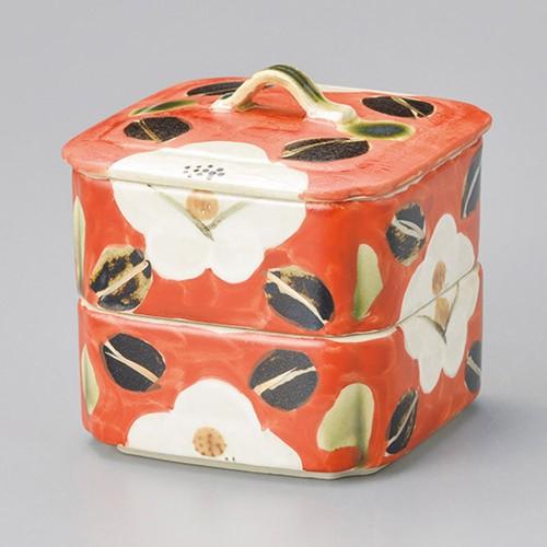 42907-450 赤濃山茶花二段重(小)|業務用食器カタログ陶里30号