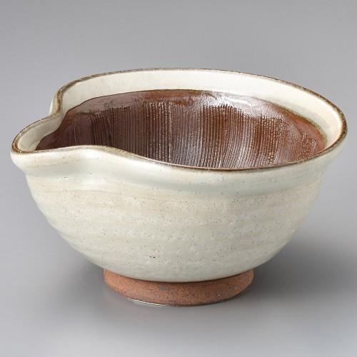 43409-180 粉引き片口6.3すり鉢|業務用食器カタログ陶里30号