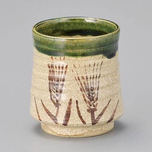 44705-450 織部麦湯呑(手造り)|業務用食器カタログ陶里30号