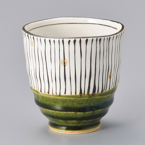 45308-450 織部十草湯呑(大) 業務用食器カタログ陶里30号