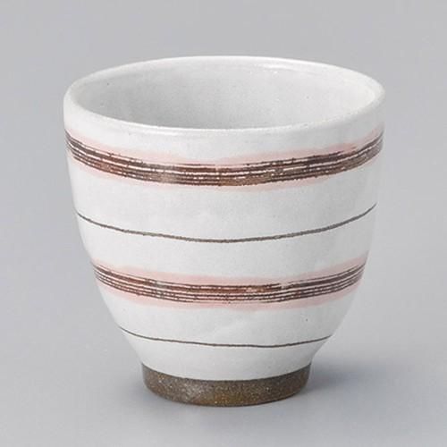 45421-450 粉引ボーダー湯呑(ピンク)|業務用食器カタログ陶里30号