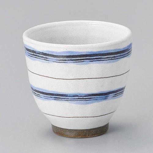 45422-450 粉引ボーダー湯呑(ブルー)|業務用食器カタログ陶里30号