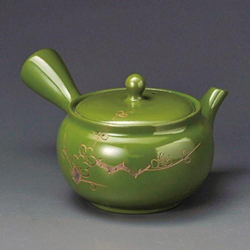 46217-350 緑泥梅彫2.0号急須(ぐるり網)K11G 業務用食器カタログ陶里30号
