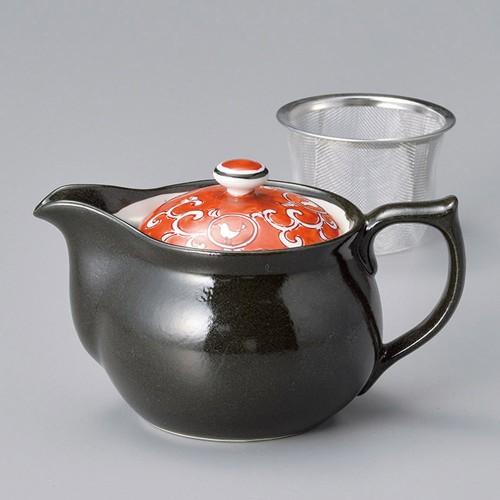 46410-450 赤絵小鳥ポット(アミ付) 業務用食器カタログ陶里30号