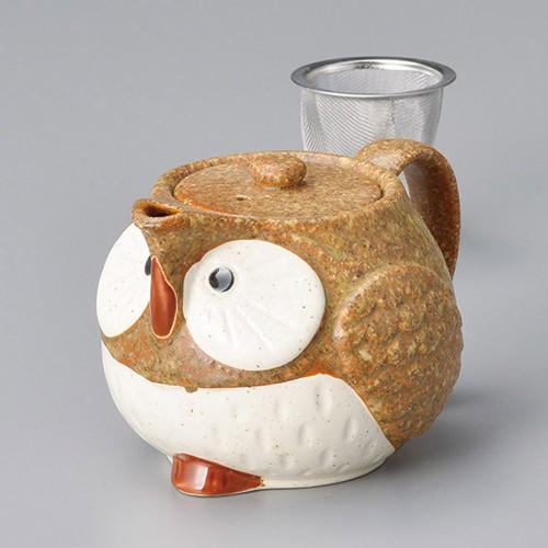 46421-100 茶ふくろうポット(アミ付) 業務用食器カタログ陶里30号