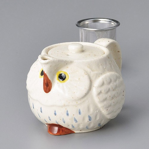 46422-100 ふくろうポット(白)(アミ付) 業務用食器カタログ陶里30号