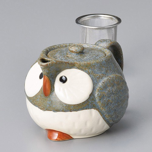 46423-100 グレーふくろうポット(アミ付) 業務用食器カタログ陶里30号