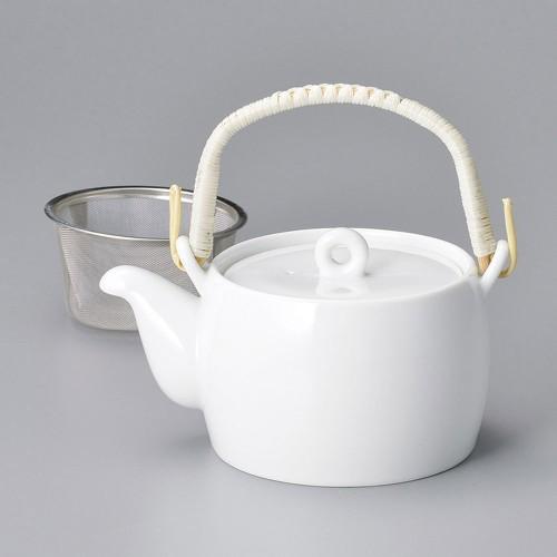 46504-240 白磁平型土瓶茶こし付 業務用食器カタログ陶里30号