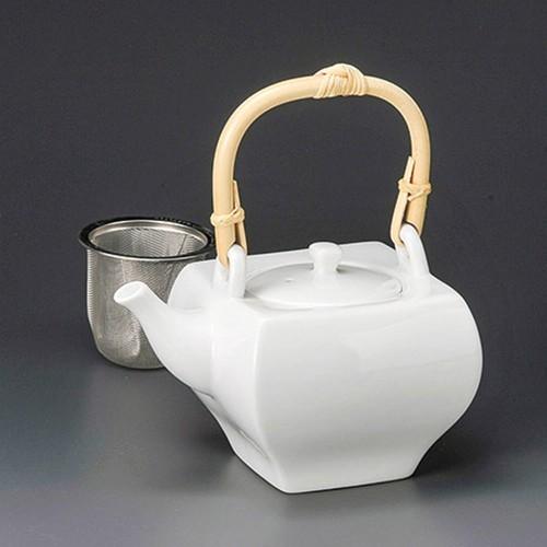 46515-010 白磁角土瓶(茶こし付) 業務用食器カタログ陶里30号