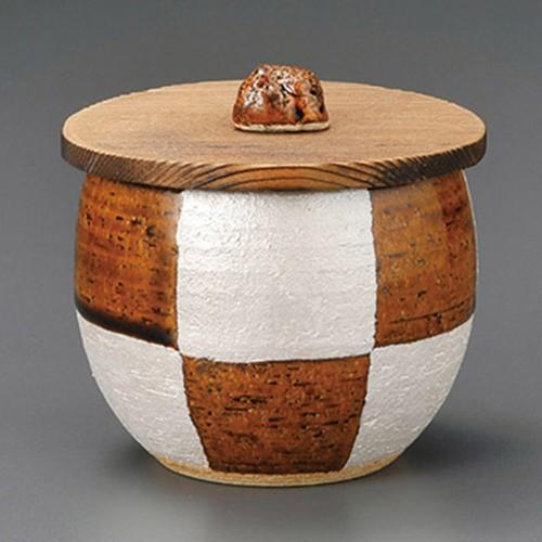 50604-180 アメ釉銀彩木蓋|業務用食器カタログ陶里30号