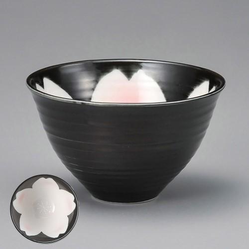51401-180 黒釉桜花ゆったり碗ピンク(小)|業務用食器カタログ陶里30号