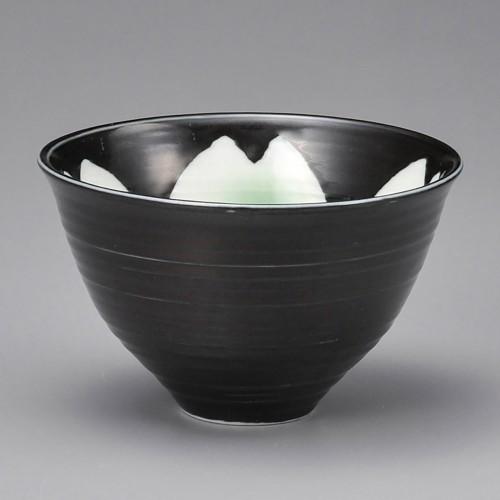 51402-180 黒釉桜花ゆったり碗緑(大)|業務用食器カタログ陶里30号