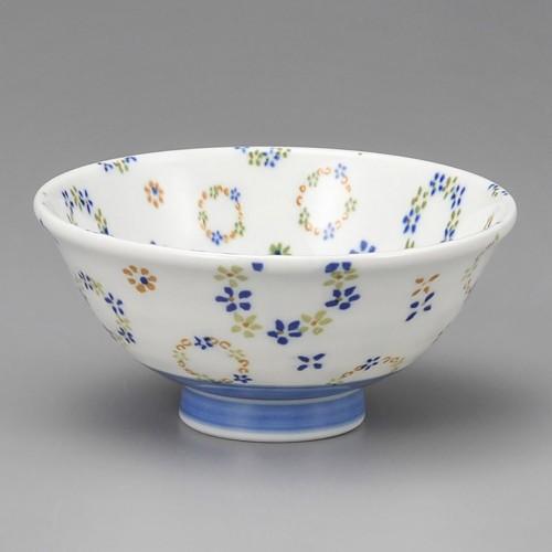 51418-330 フラワーリース青軽量反茶碗(大)|業務用食器カタログ陶里30号
