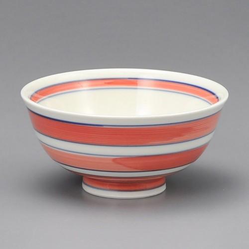 51423-450 アイボリー二色ライン汁碗(赤)|業務用食器カタログ陶里30号