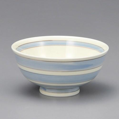 51424-450 アイボリー二色ライン汁碗(青)|業務用食器カタログ陶里30号