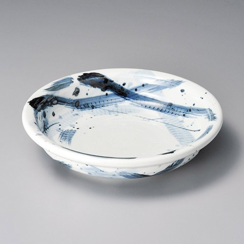52005-080 軽量土呉須格子8寸浅鉢|業務用食器カタログ陶里30号