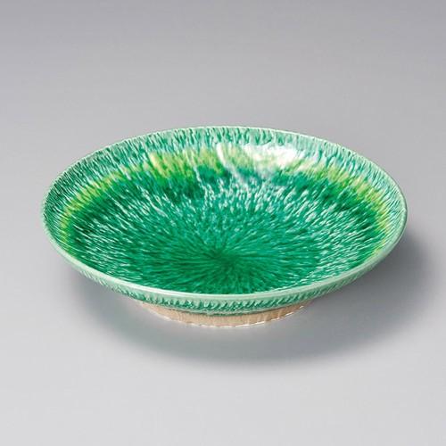 52016-460 緑釉黄流とちり高台8.0皿|業務用食器カタログ陶里30号