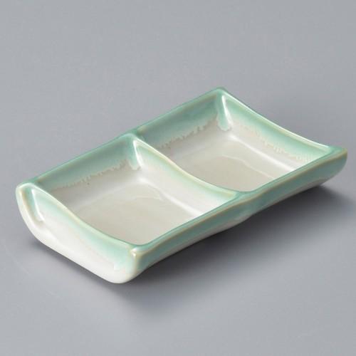53007-330 緑水二ツ仕切皿|業務用食器カタログ陶里30号