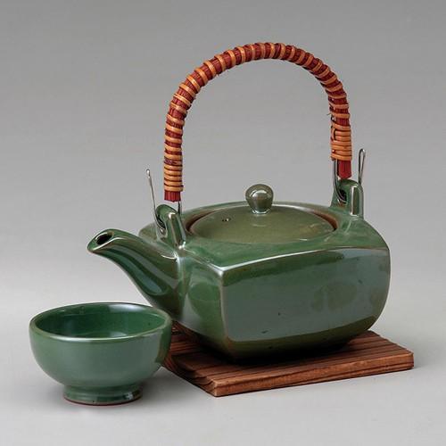 53417-480 グリーン角形土瓶むし|業務用食器カタログ陶里30号