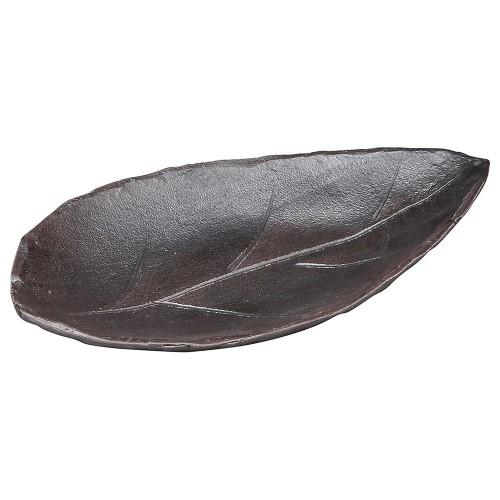 53806-430 黒土木の葉陶板(大)|業務用食器カタログ陶里30号