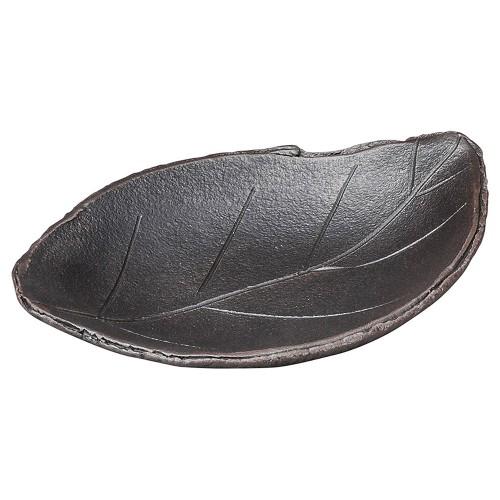 53807-430 黒土木の葉陶板(小)|業務用食器カタログ陶里30号