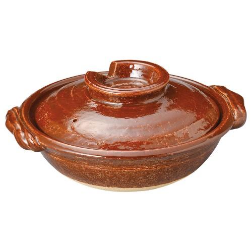 53909-430 アメ釉9号鍋|業務用食器カタログ陶里30号