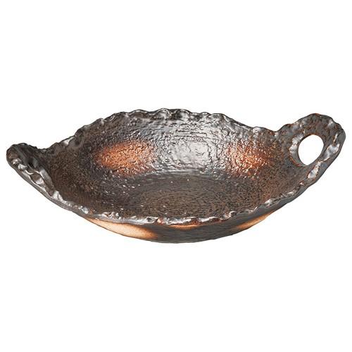54614-350 黒吹8.0民芸陶板|業務用食器カタログ陶里30号