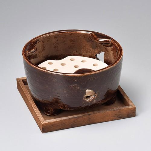 54801-430 アメ釉8.0丸コンロ(敷板付)|業務用食器カタログ陶里30号