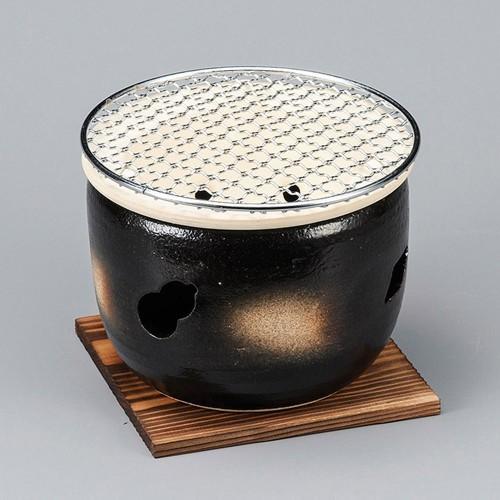 54804-480 黒5号伊勢コンロ(金網・板付)|業務用食器カタログ陶里30号