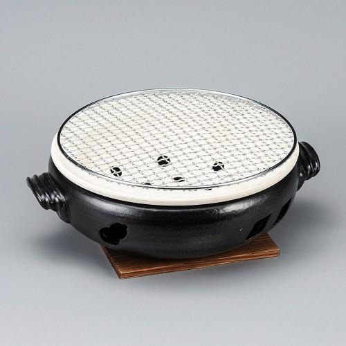 54813-480 黒9号手付伊勢コンロ(金網・板付)|業務用食器カタログ陶里30号