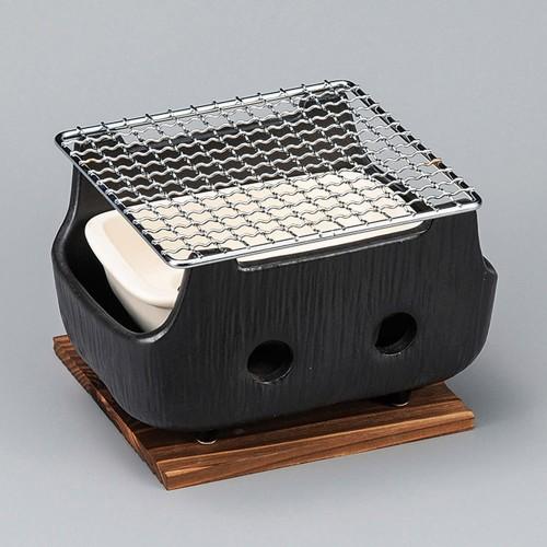 54816-480 黒串焼コンロ(小)(金網・板付)|業務用食器カタログ陶里30号