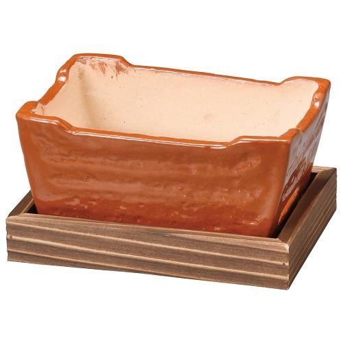 54901-430 赤楽長角コンロ(敷板付)|業務用食器カタログ陶里30号