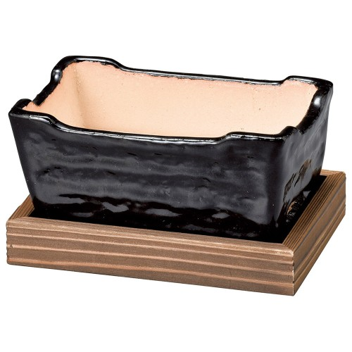 54902-430 黒楽長角コンロ(敷板付)|業務用食器カタログ陶里30号