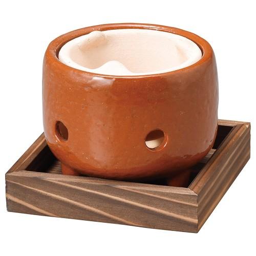 54903-430 赤楽コンロ(敷板付)|業務用食器カタログ陶里30号